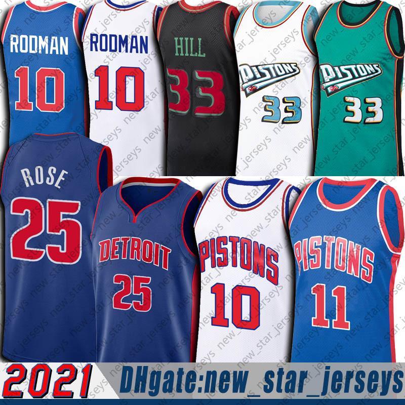 "Detroit ""Pistão"" Jersey Jersey Jersey Grant 33 Hill Jerseys Isiah 11 Thomas Dennis 10 Rodman Jersey Basketball Uniforme"