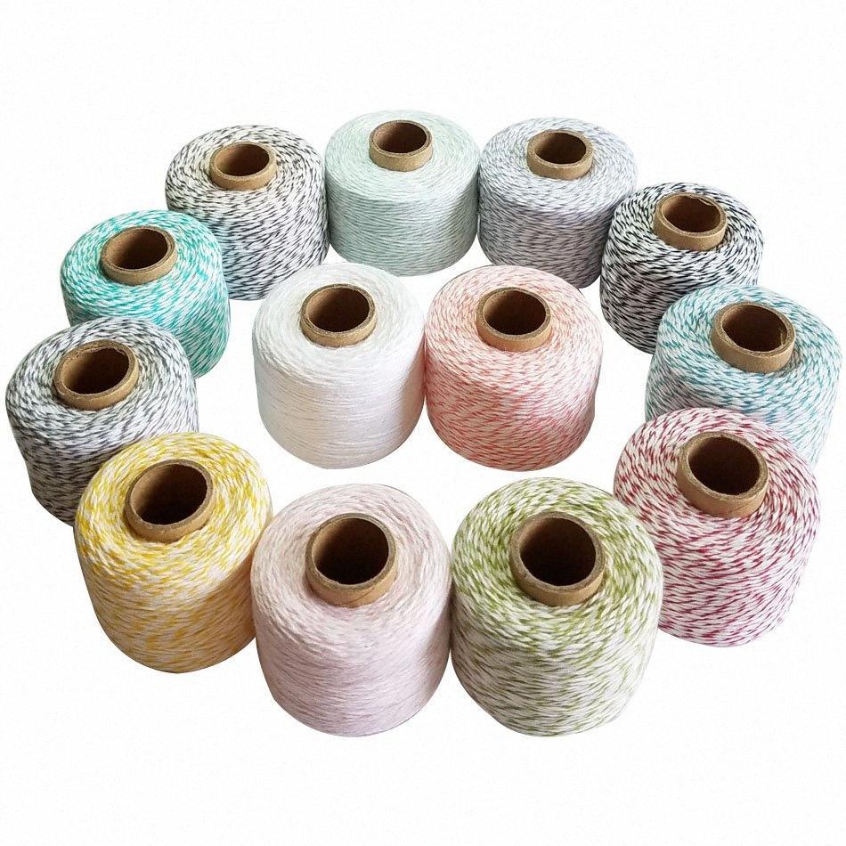 100% Baumwolle Seil 150m / roll Bäcker Bindfäden Makramee dünne Schnüre Schnur Faden für Hochzeitsdekoration Geschenkpaket DIY 1gUp #