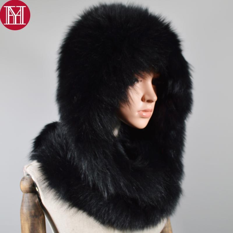 Atkılar Lüks Bayan Gerçek Kürk Hatscarf Kış Sıcak Kabarık 100% Doğal HatsScarves Kadınlar Örme Orijinal Capsham