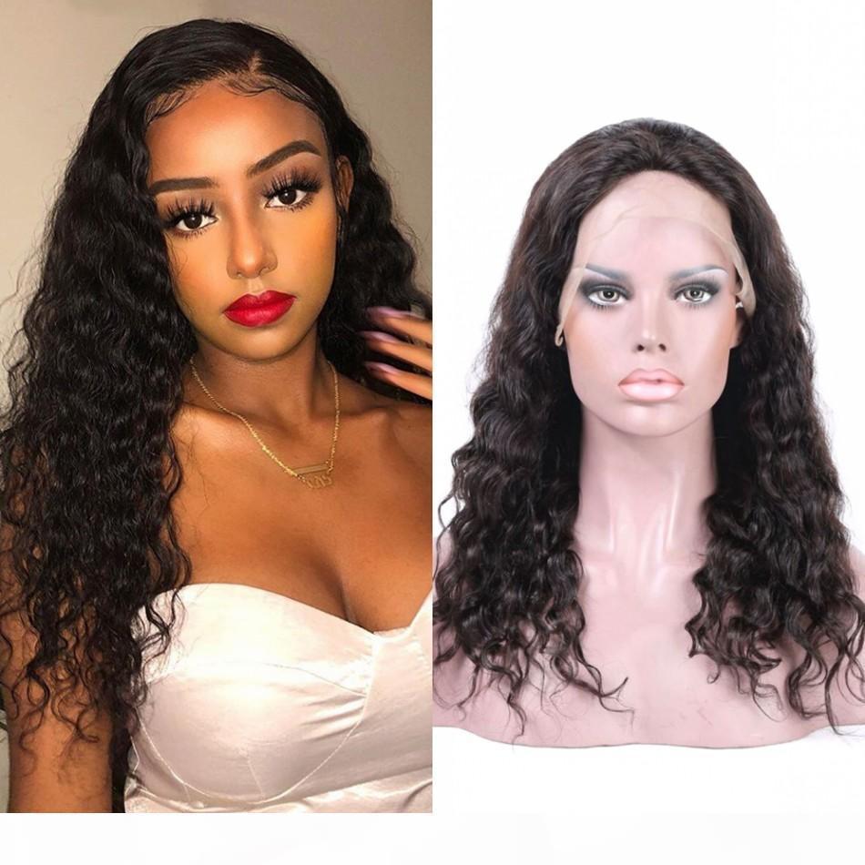 Индийские человеческие волосы шнурки передних париков Свободная глубокая волна парик 130% плотность полные кружевные парики для чернокожих женщин