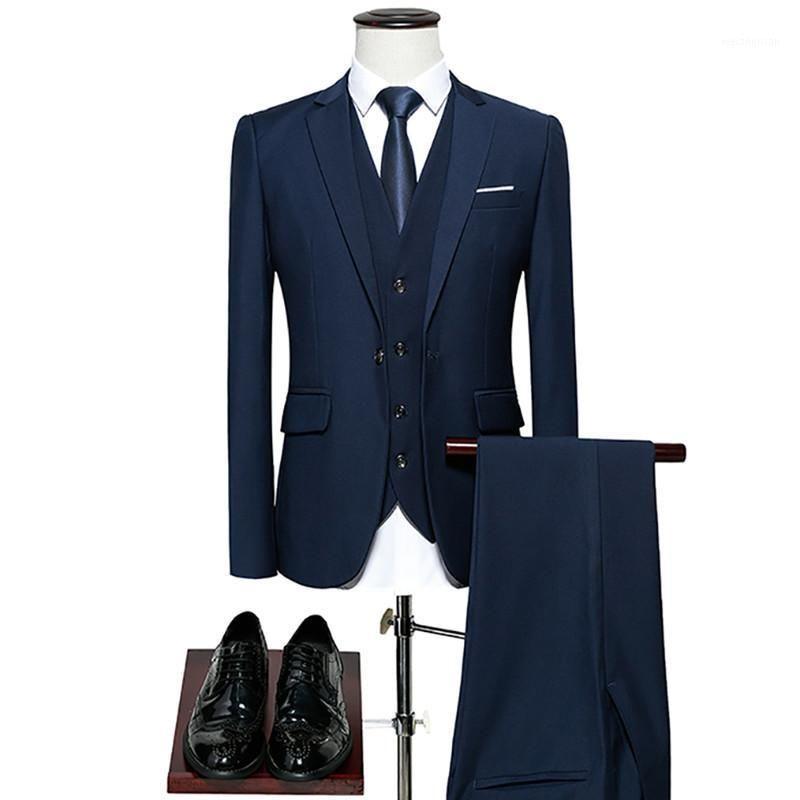 Herren 3 Stück Blazer Hosen Weste Social Anzug Mode Massive Farbe Business Anzug Set Hochzeit Bräutigam Casual Formale M-5XL 6xl1