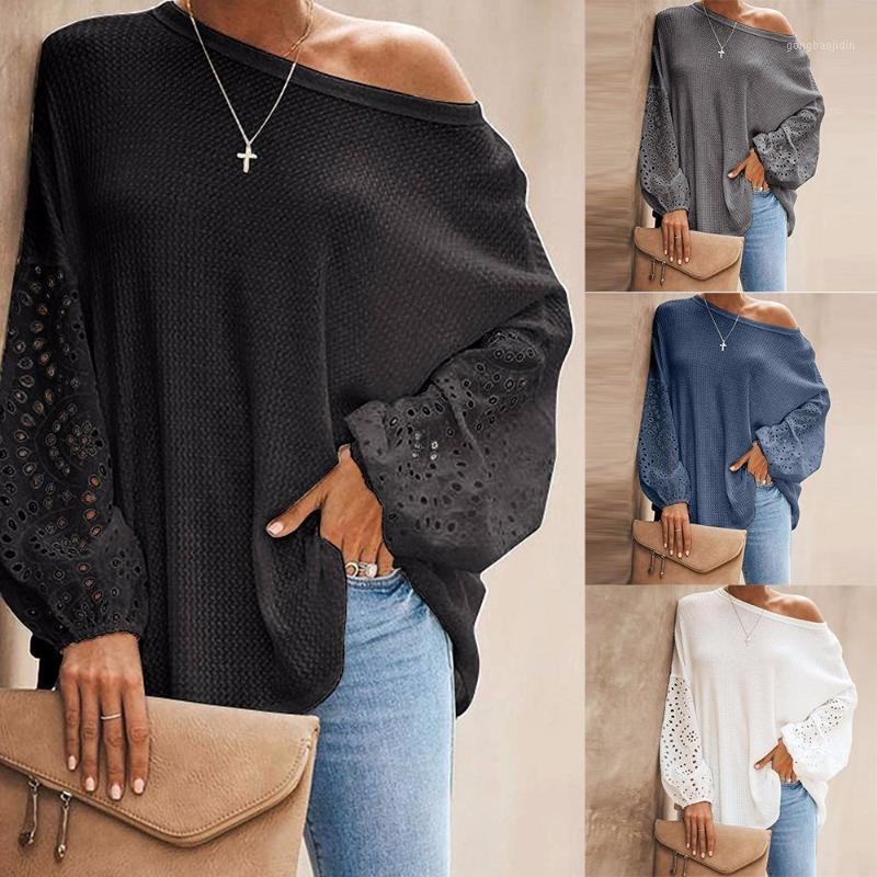 Patchwork feminino oco out manga longa camiseta waffle tricotar tops fora do ombro enorme pulôver tops outono mulheres roupas1