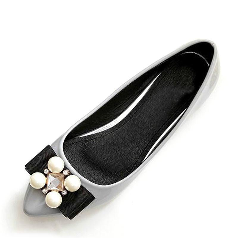 Nuevo cuero suave Mujeres Pisos Alta manera informal Negro puntiagudo dedo del pie de la bailarina de ballet planos de deslizamiento en los zapatos Zapatos de trabajo