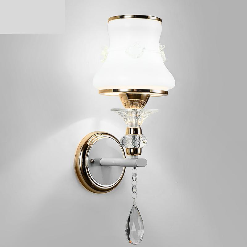 벽 램프 연구 화이트 유리 그늘 읽기 빛 복도 램프 장식 쇼케이스 마운트 E27 LED Sconce Wandlamp 거울