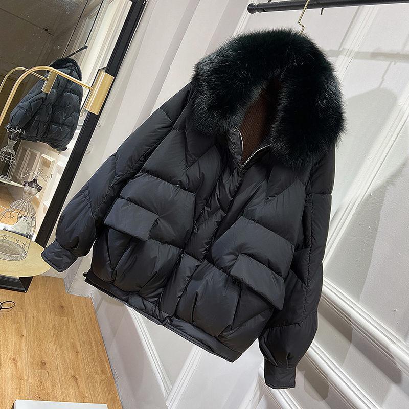 2020 Frauen 90% Winterjacke Frauen wirklichen Fox-Pelz-Kragen Daunenjacken Frau Short koreanischen Puffer Mantel dicke warme Kapuze Art