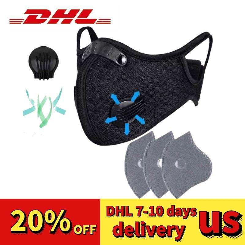 Filter Cycling Mask Face with Respirator Valve PM2.5 Mouth Masks Anti Dust Protective Outdoor Sports Outdoors Motorcycle FFA3438 Bicycle