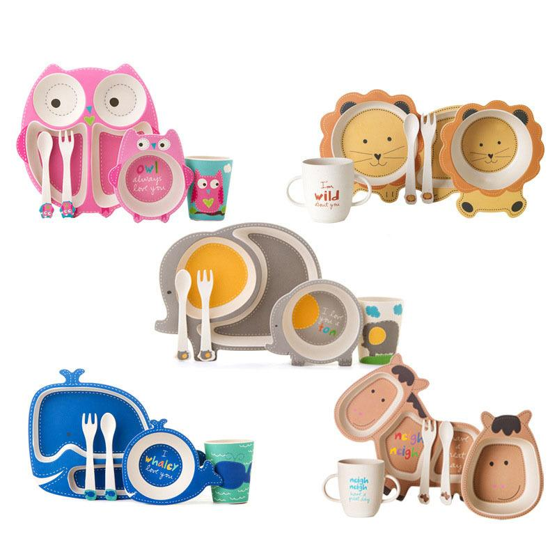 chaud bambou Vaisselle bébé Bowl Cup Plaques Ensembles 5pc / set Cartoon Art de la table cadeau créatif pour bébé tout-petits enfants Vaisselle C1108