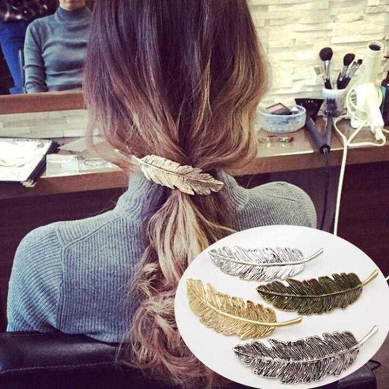 Moda Kadınlar Yaprak Tüy Saç Klip Firkete Barrette Bobby Pins Saç Aksesuarları Kadınlar Partisi Takı