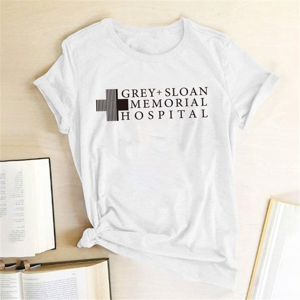 Серый Слоана Мемориальная больница Письмо Печать Футболки Женщины Harajuku Рубашка футболка Femme Случайные Рубашки Женщины Ropa Para Mujer