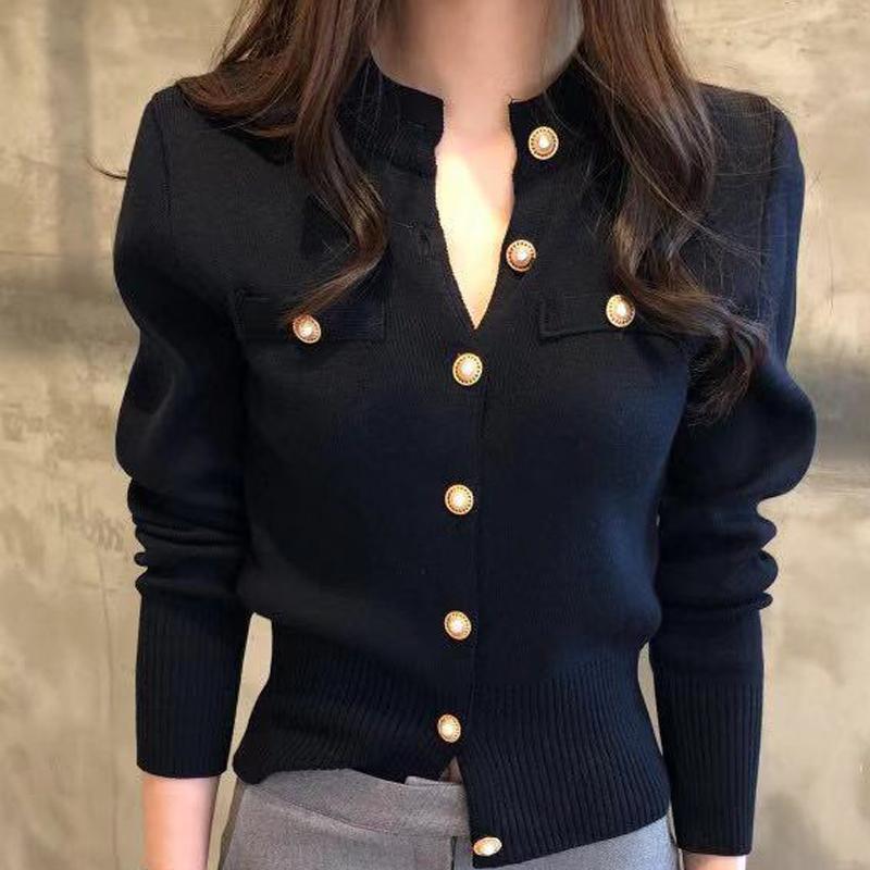 Kore düğmesi tek göğüslü kazak hırsızları ince ceket sonbahar moda ince uzun kollu bayan kazak örme giysi q0104
