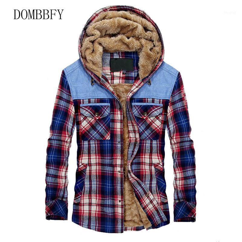 Camisas casuales de los hombres hombres franela algodón otoño invierno grueso cálido tela escocés camisa masculina chaquetas con capucha M-3XL1