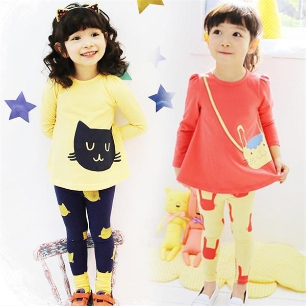 Bebek Kız Giyim Seti İlkbahar Sonbahar Çocuk Eşofman Pamuk Karikatür tişört + pantolon 2pcs Çocuk Giyim Suit 3 4 5 6 7 8 yaşında X0923