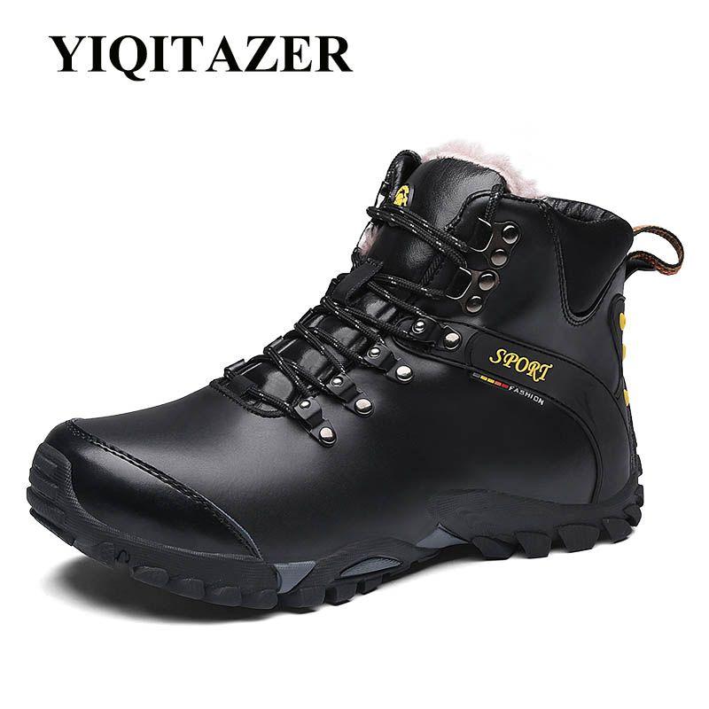 YIQITAZER Sneakers Exército para Sapatos Masculinos Platform Mocassins Primeira Camada de Inverno Homens Botas Couro Botas de couro Adulto