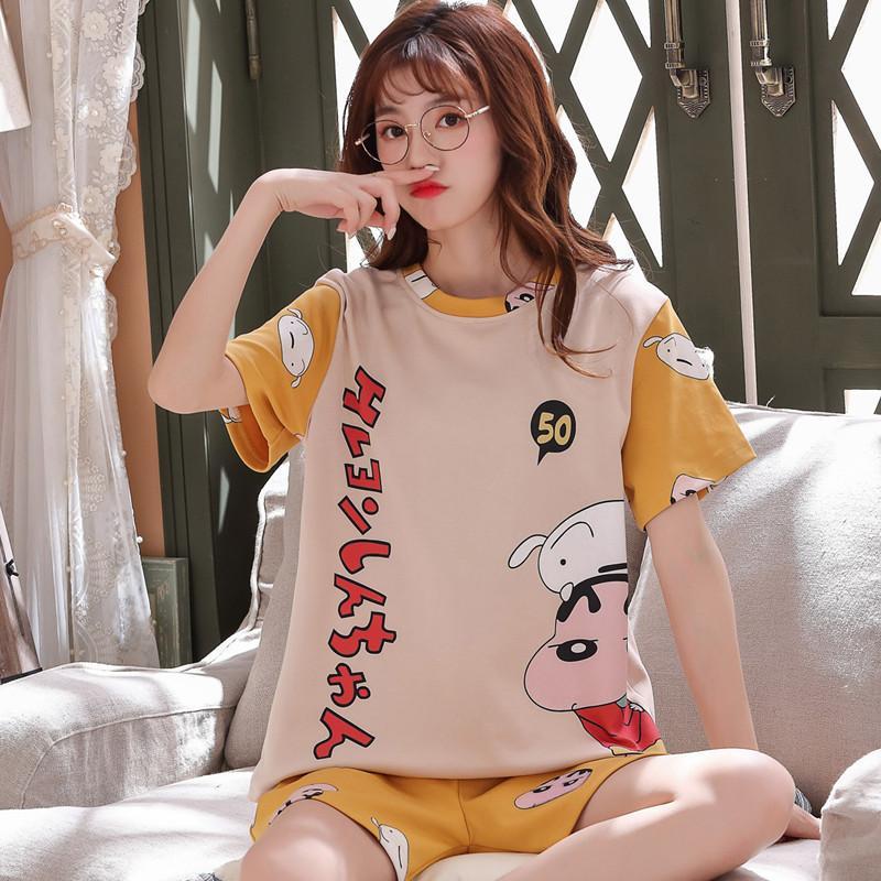 Bzel Mignon Crayon Shin-Chan Print Pyjamas d'été Ensemble pour Femmes Casual Casual Sleepwear T-shirts et shorts PJS Big Taille Costume T200701