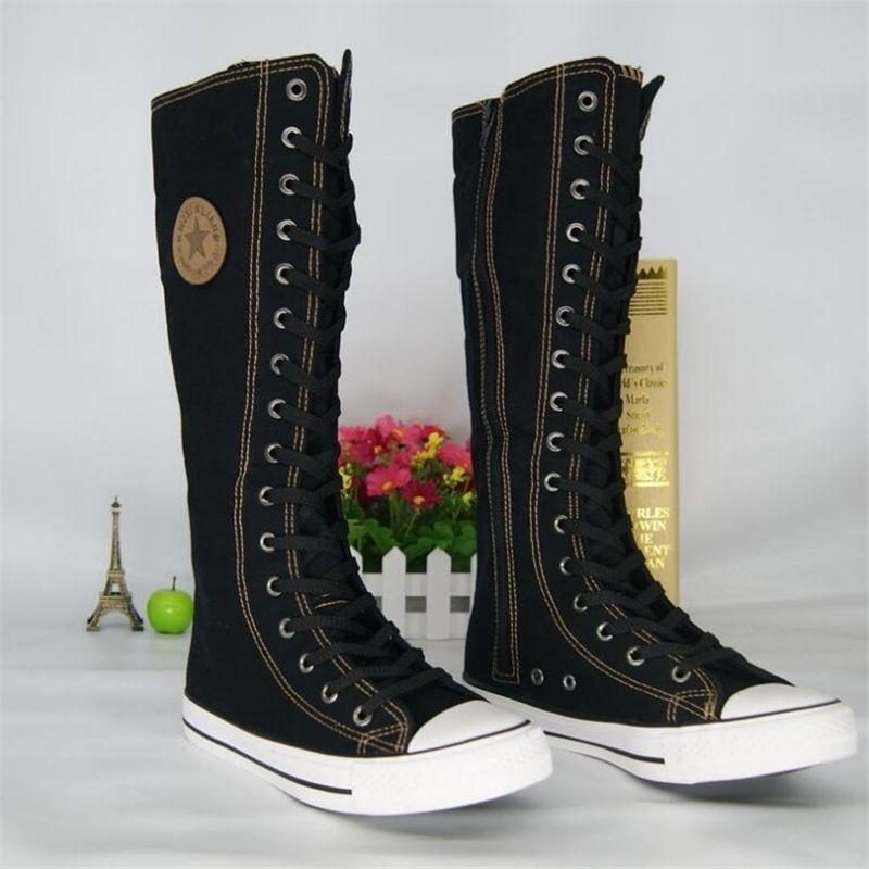 Frauen High Top Casual Canvas Schuhe Gothic Fashion Punk-Stil Frauen Lange Stiefel Damen Knie hoch mit seitlichen Reißverschluss Leinwand Schuhe 201126