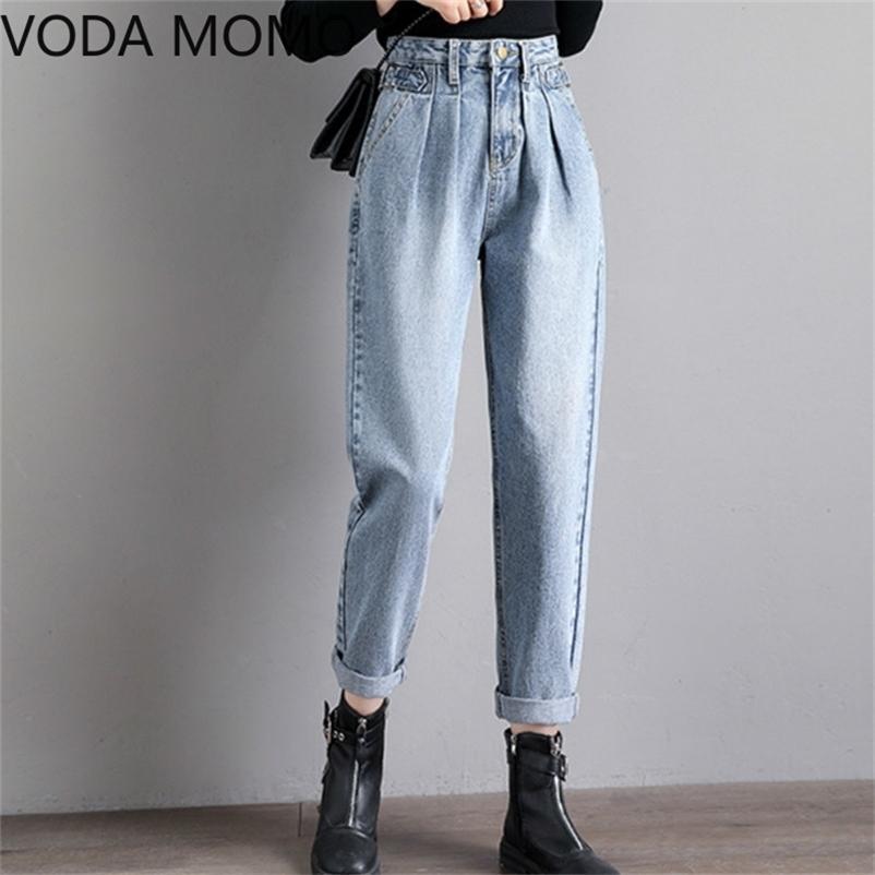 Mujer de alta cintura para mujer de moda vintage para las mujeres boyfriend boyfriend jeans mujeres más tamaño 201225
