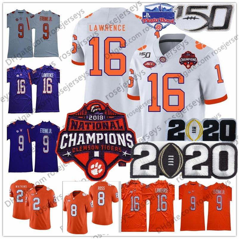 2020 Clemson Tigers Trevor Lawrence Champions Jersey 16 9 Travis Etienne Jr. 2 Sammy Watkins Tee Higgins Justyn Ross 150th Fiesta Tigela Branco