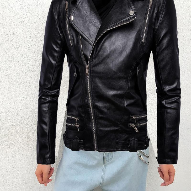 Plus grande taille Veste solide surdimensionnée Automne Printemps Hommes Manteau Casser-vent Casual Zipper à glissière Poche Slim élégant PU cuir noir Top1