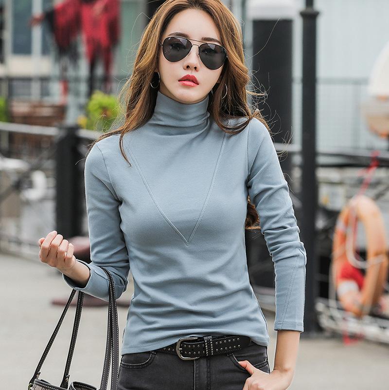 Осенью и зимняя базовая рубашка с высоким воротником 2020 новый стиль сплошной цвет Футболка с длинными рукавами женское белье корейский стиль SL