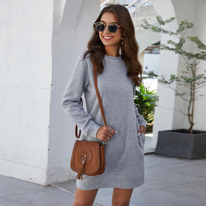 Зимнее платье для женщин с длинным рукавом с длинным рукавом женское свитер 2021 осенью новый сплошной свободные карманные дамы мини-платье