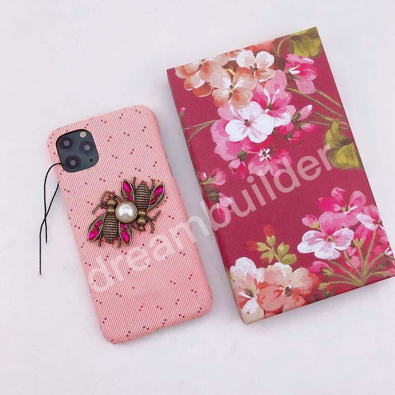2021 Casos de telefone de moda para iphone 12 pro máximo 12 11 xsx xs max 7/8 plus PU Couro telefone Shell Bee para Samsung S20 S10 Plus Nota 8 9 10Plus