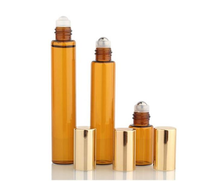packing 10ml 5ml 3ml Mini Roll On Glass bottle PERFUME Amber Brown GLASS BOTTLES ESSENTIAL OIL bottle Steel Metal Roller ball