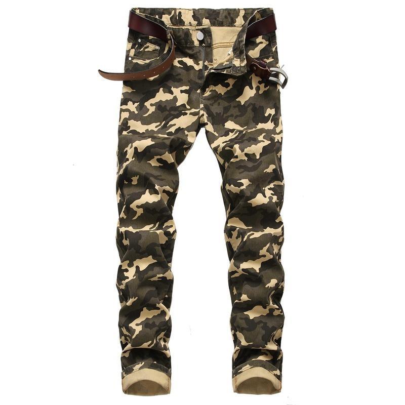 2020 Frühling Neue Herren Camouflage Jeans Persönlichkeit Herren Dünne Stretcharmee Grün Gedruckt Casual Hose Baumwollhose Baumwolle