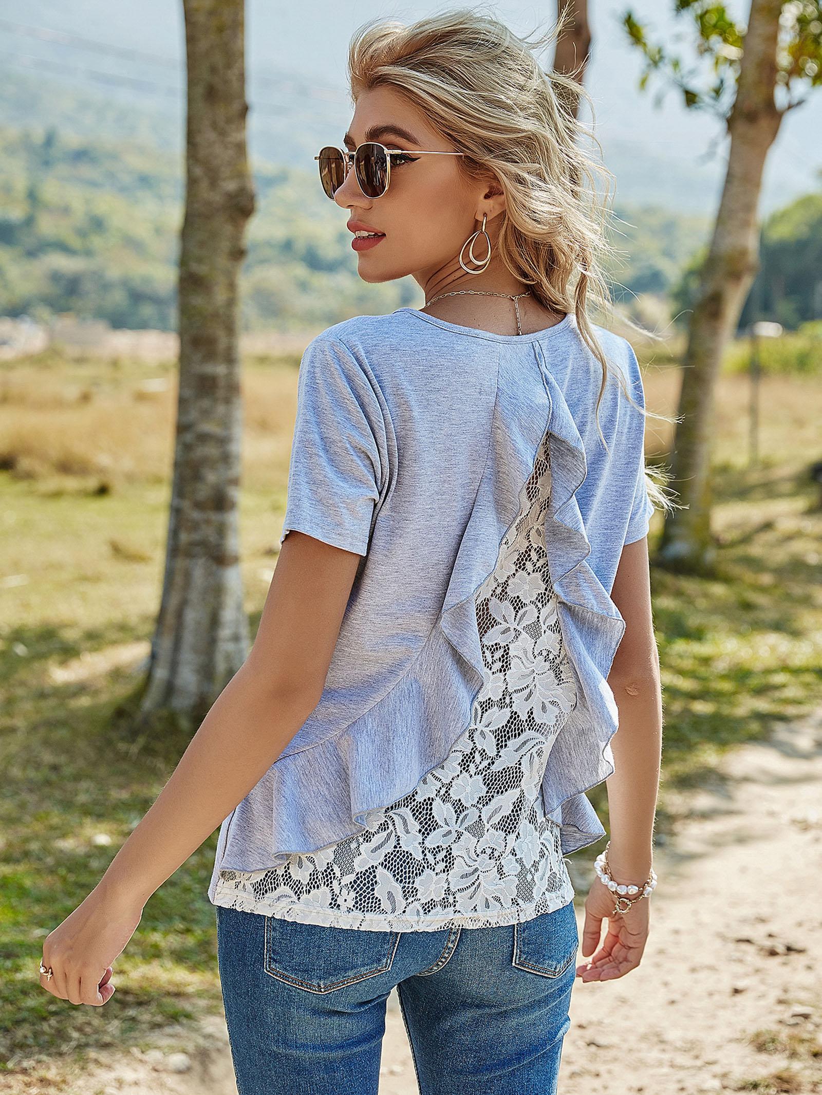 여름 여성 레이스 스티치 귀여운 티셔츠 패션 라운드 목 HOON Girls Tops Tee Blouse 짧은 소매 Womens Shirt 8075
