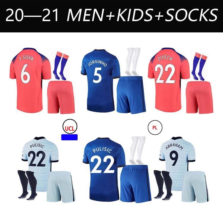 20 21 Jerseys de fútbol pulisico Kante Werner Ziyech Jersey Marcos A. Camisa Inicio Abraham Chiilwell Monte Mens Kit Kit Kit de la camisa de fútbol