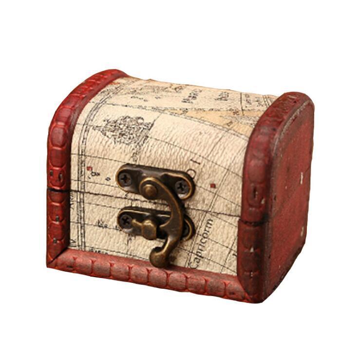 Vintage Schmuckschatulle Mini Holz Weltkarte Muster Metall Container Organizer Aufbewahrungskoffer Handgemachte Holz Kleine Boxen DDD4044