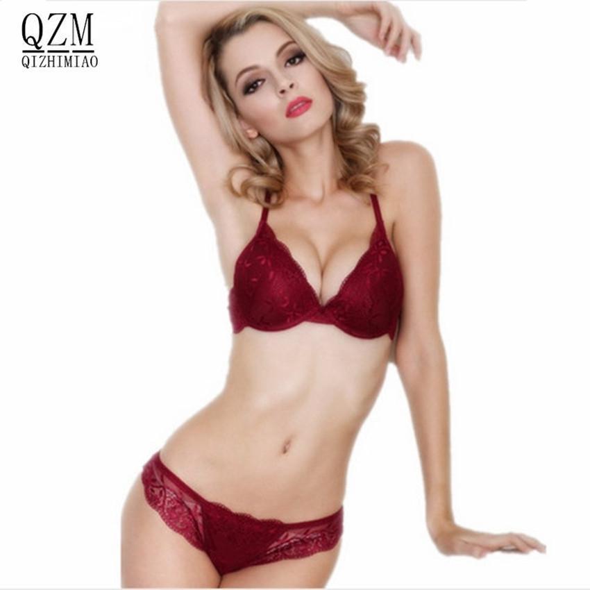 Qizhimiao coton pousser soutien-gorge absolu de luxe dentelle sexy vin rouge sous le mince soudure de sous-vêtements épais du sous-vêtements est une femme Y200708