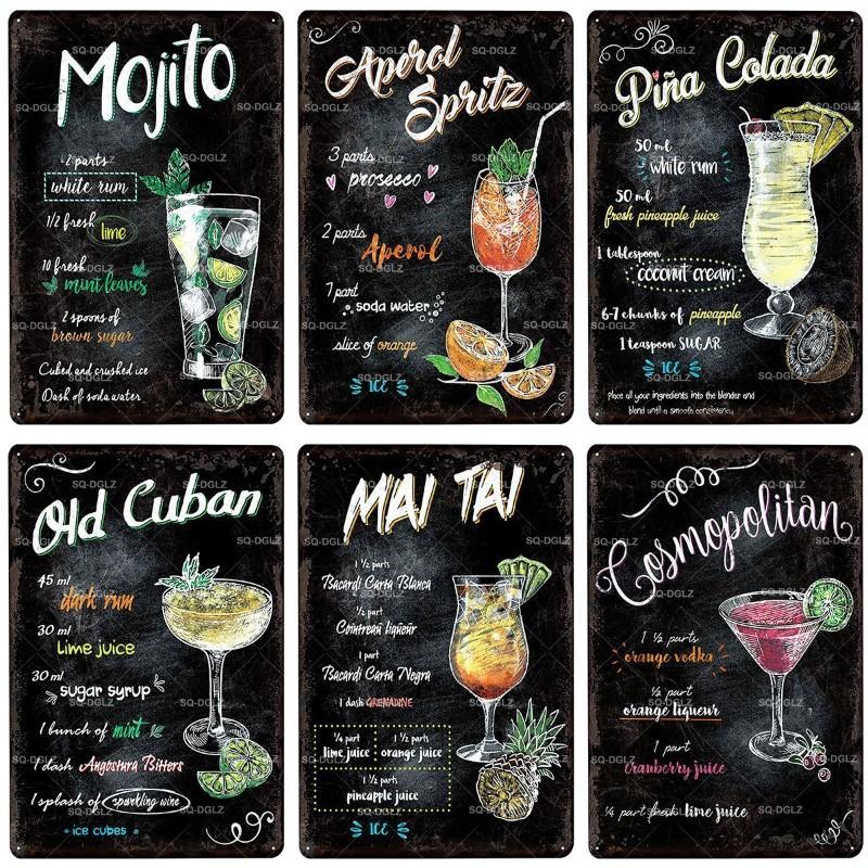 2021 Bière drôle Whisky Cocktail Signe en métal Vintage Plaque métal Cocktail Décor de la plaque de cocktail pour PUB Bar Decor mural Panneaux d'étain