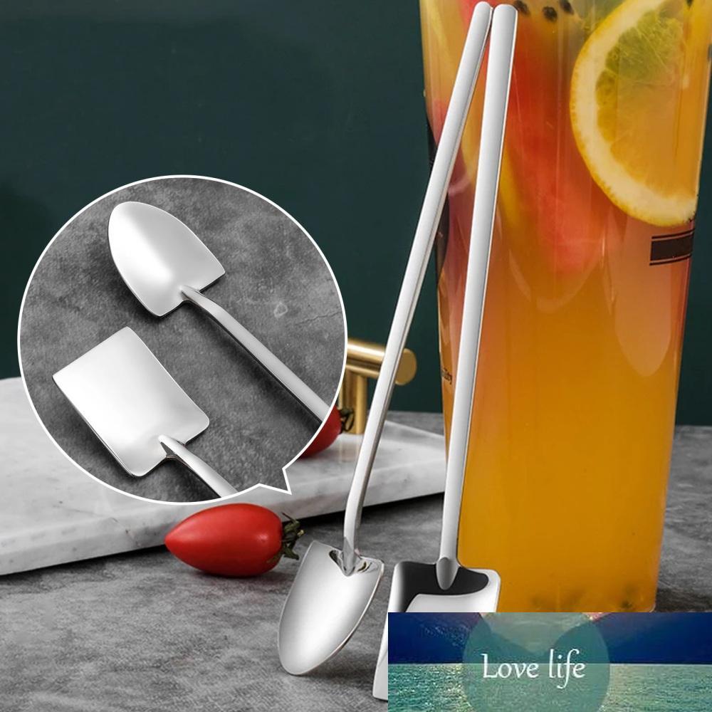 2 шт. Длинная ручка из нержавеющей стали кофе ложка квадратной лопатой лопатую мороженое Scoop десертные приготовления молочный чайный инструмент кафе кухонные инструменты