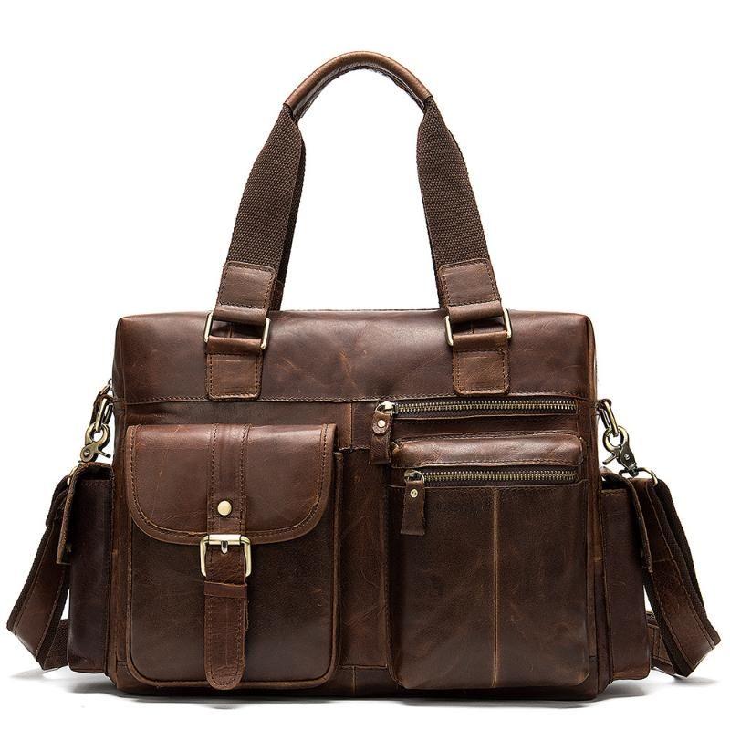 100% echtes Leder-Kurier-Beutel-Mann-Umhängetasche Casual Male Aktenkoffer Laptop-Handtaschen-Computer-Leder-Beutel für Dokumente