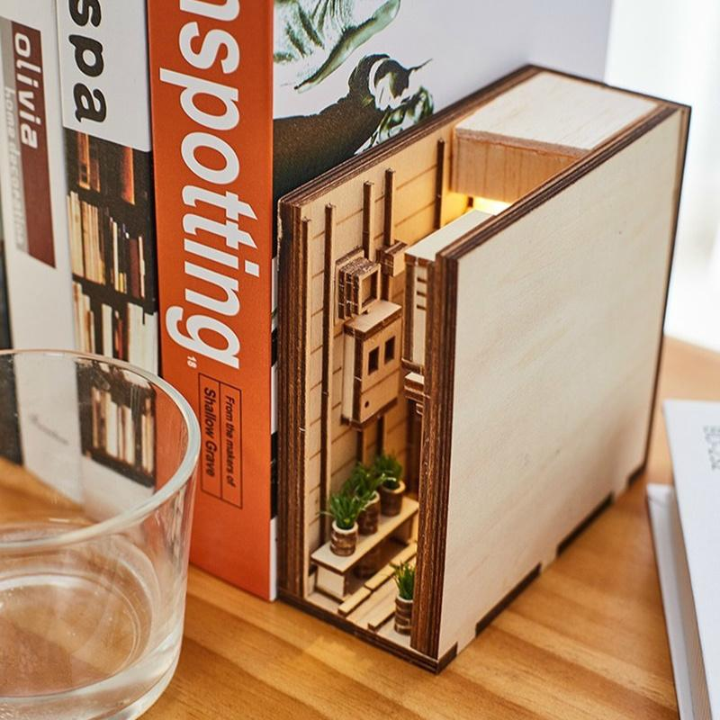 Libro in legno Nook Inserts Art Bookend Fai da te Bookshelf Decor Stand Decorazione Decorazione Giapponese Stile Giapponese Decorazione della casa Model Building Kit 201202