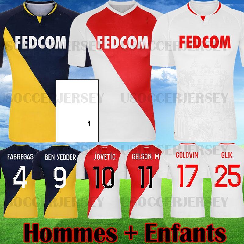 2020 2021 Top Qualité As Monaco Ben Yedder Jerseys Jerseys Jovétique Golovin 20 21 Maillot de Foot Flocage Jorge Hommes Chemise de football pour enfants