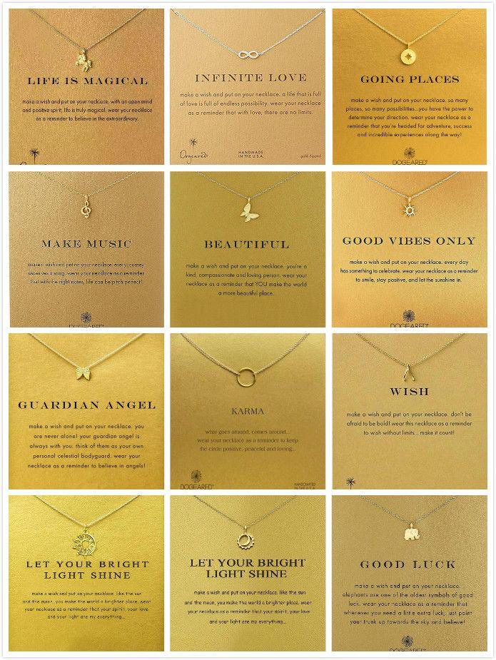 Новое Dogeared ожерелье с картой Gold Elephant Сердце Ключ ожерелье Clover Подкова треугольник Шарм Подвеска для женщин ювелирных изделий подарка свободного корабля