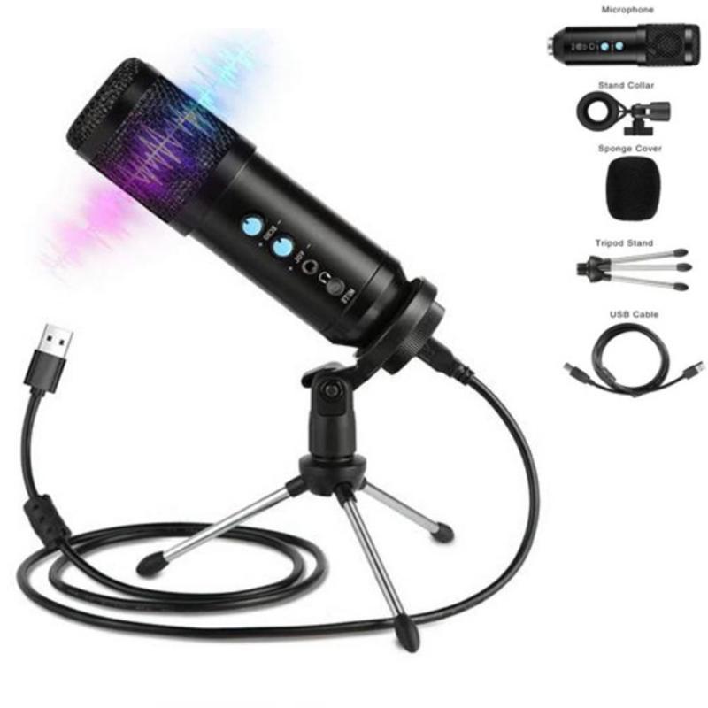 USB Microfone Set inteligente Redução de Ruído Computer Mic liga de alumínio Microfone Condensador Professional Studio de gravação de voz