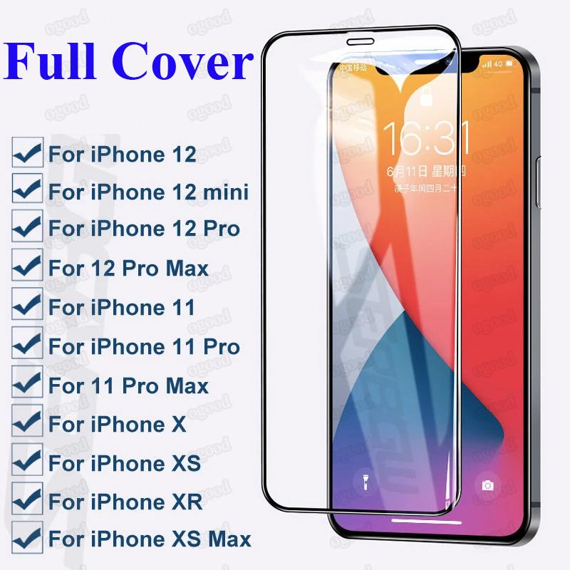 Plein couverture Verre trempé pour iPhone 12 Pro Max Protecteur d'écran de protection pour iPhone 12 Mini SE 2020 XR 8 Plus Samsung A51 A21 Pixel LG