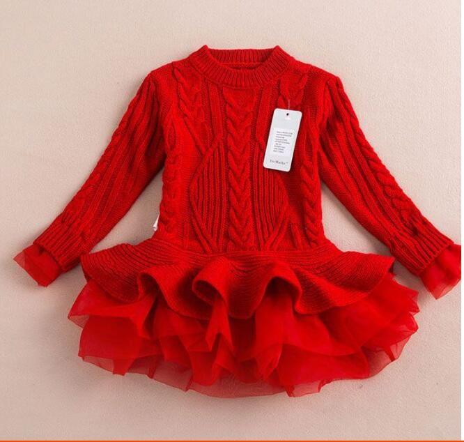 Varejo 2021 Nova Moda Baby Jumper Meninas Outono e Inverno Tutu Vestidos Kids Sweater Tule Vestidos em estoque