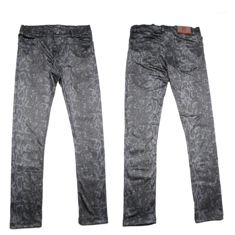 Los hombres usan la nueva llegada Al estilo de todos los Pantalones delgados de la moda Moda Moda Imite Snakeskin Grano Alto Elástico Leche Seda Pantalones Casuales1