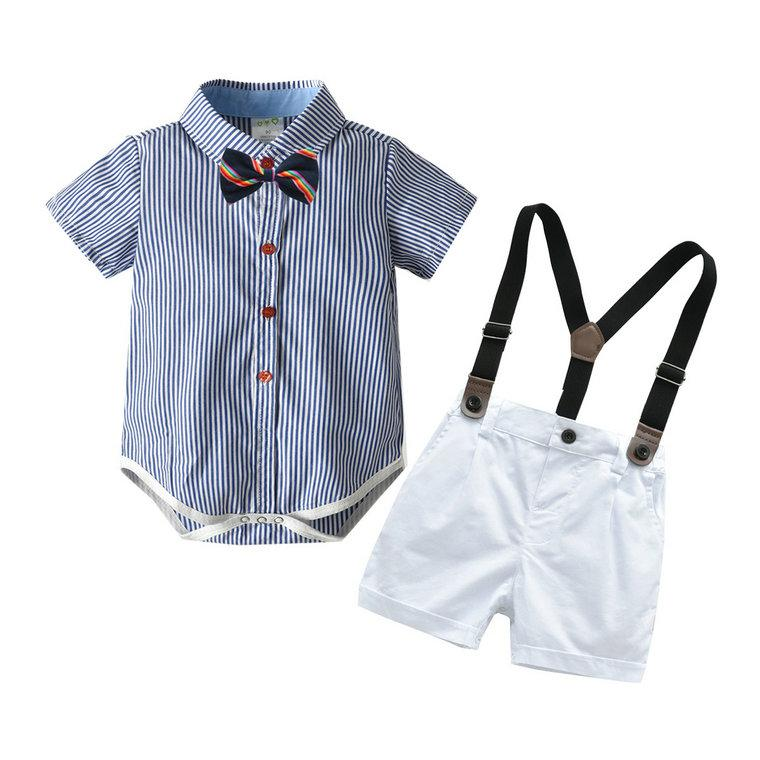 Baby Gentleman Sets Romper+tie+sling+pants Short Sleeve Boy's 4pcs Set Summer Baby Boy Clothes Fashion Infant Suits