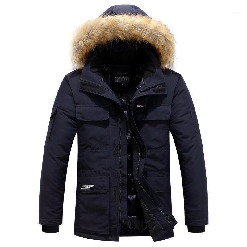 Marque Vestes d'hiver pour hommes Multi Poche Casual Casual Élément épaisseur Collier à capuche à capuchon Coton-rembourré Mens Parka Vestes Plus Taille 6xL1