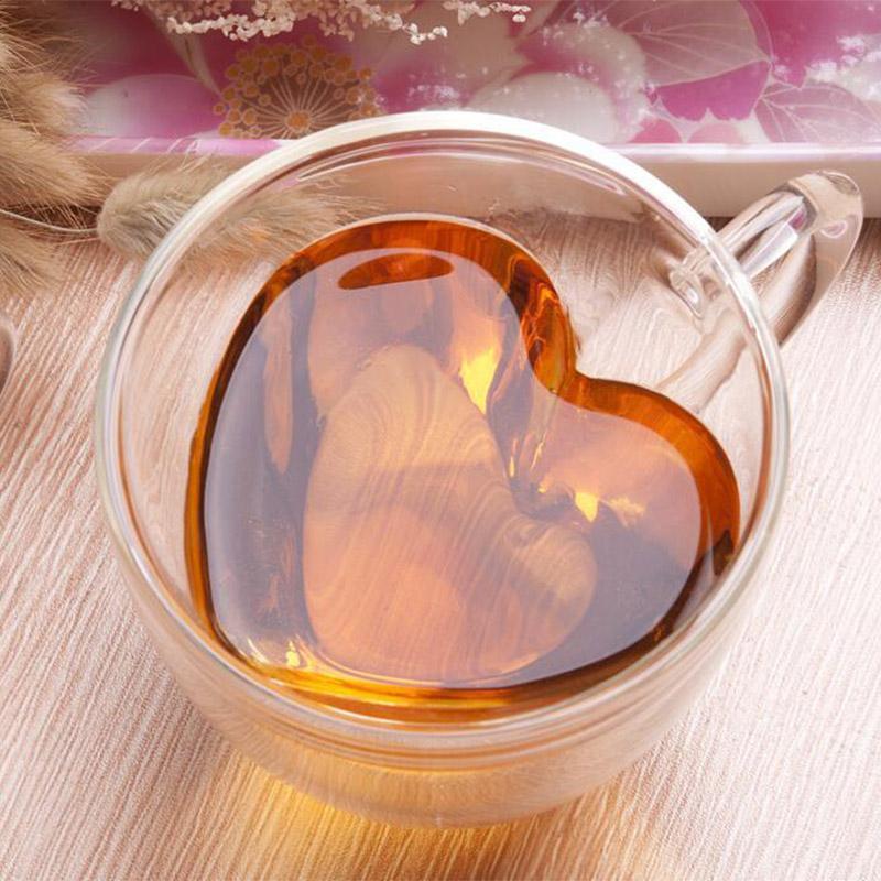 Coeur d'amour en forme de tasse en verre de lait jus Coupe Drinkware Coupes couple double paroi en verre Tasse chaleur verres résistant Shot