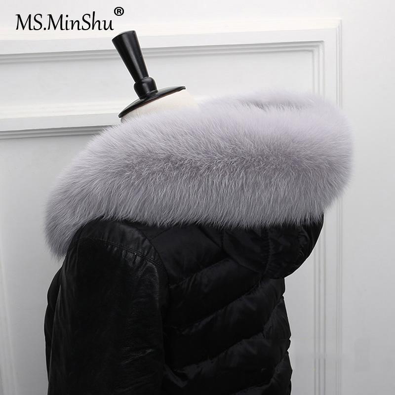 Pelz-Kragen für Hood Natürliches Fell Kapuze Trim Schal großen Kragen 100% Echtes Trim Maß Ms.MinShu