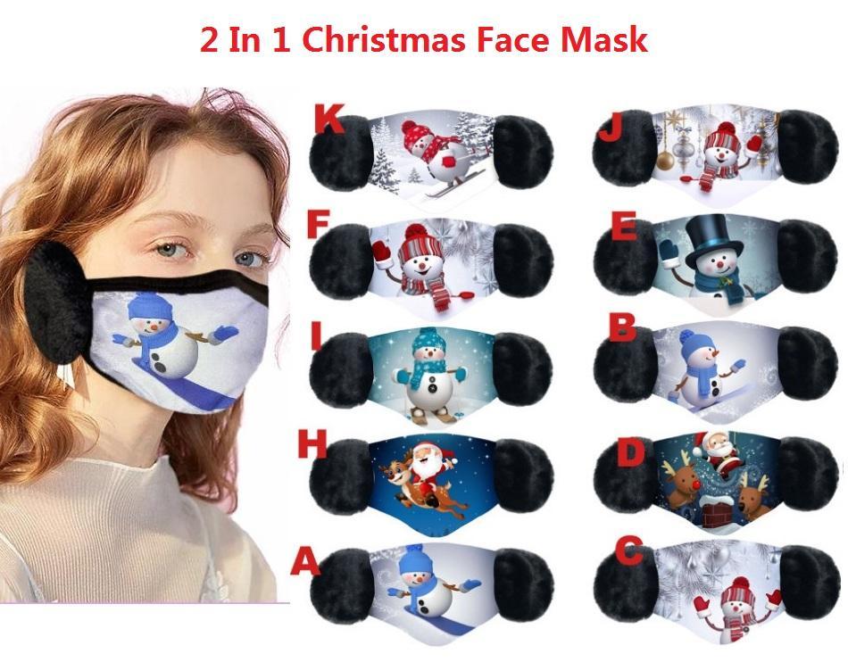 빠른 배송 2 in 1 크리스마스 얼굴 마스크 아이 성인 커버 봉 제 귀 보호용 두꺼운 겨울 입 보호용 입 - 머플 이어폰