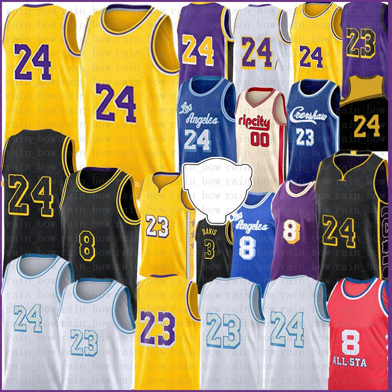 Los 23 6 Angeles Jersey di pallacanestro Carmelo 8 24 00 Anthony 3 Davis Kyle 0 Kuzma Jerseys 32 34 Mens S-XXL Oro nero