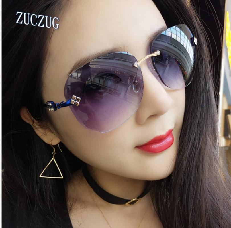 Óculos de sol de moda uv400 desenhista tons óculos definir óculos de grandes dimensões de aro sem raio mulheres templo artesanato feto