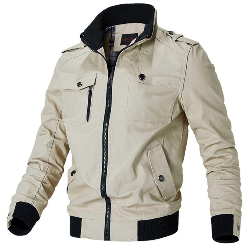 Zíper masculino homem casual masculino militar algodão piloto casaco exército homens carga jaqueta y201123