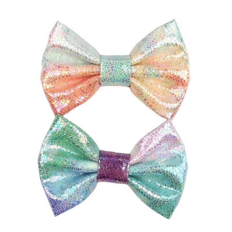 Новые 4-дюймовые Bowknot Girls Clips Clips Русалка для волос Bows Kids Barlettes Кожаные Baby BB Clip Clip Cute Girls Аксессуары для волос 20 шт. / Лот